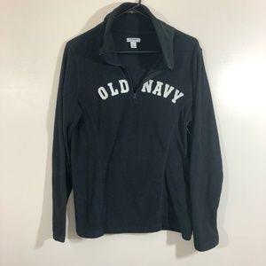 NWT Old Navy Black Zip Neck Fleece Pullover Large